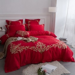 花清泓 60长绒棉绣花四件套大红浪漫人生
