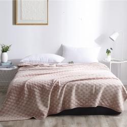 刘小姐的店 2019新款全棉针织提花夏被 粉色太阳花