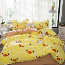 94plus 磨毛水晶绒四件套床单款小黄鸭