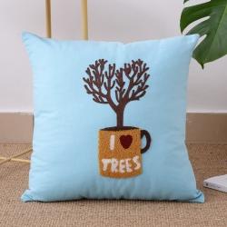 明星枕业 毛线复合绣抱枕tree系列天蓝色