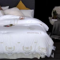 嘉柏家纺 高品质60长绒棉绣花金玫瑰牛奶丝被芯 冬被