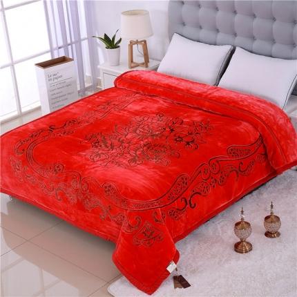 浩情国际 5D彩印纯色双层雕花云毯牡丹佳人-红