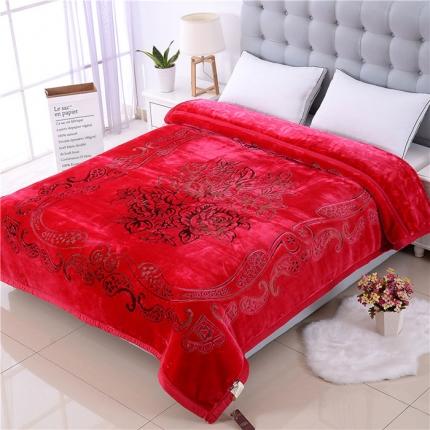 浩情国际 5D彩印纯色双层雕花云毯牡丹佳人-玫红