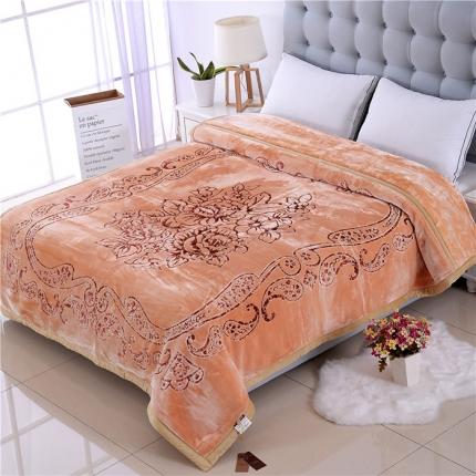 浩情国际 5D彩印纯色双层雕花云毯牡丹佳人-米黄