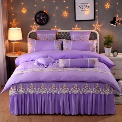 浩情国际韩版床裙四件套水洗棉四件套公主网红四件套叶语情怀-紫