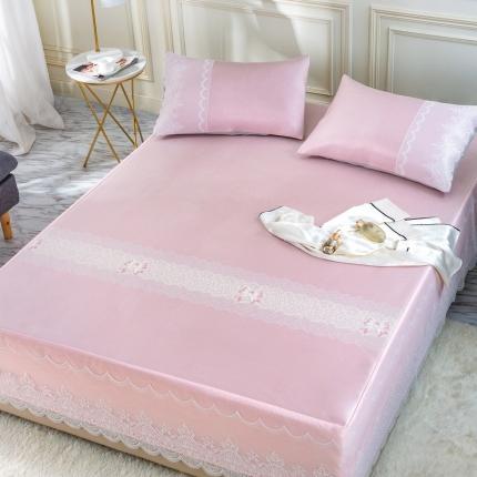 冰席时代 新款600D床裙花边款冰丝凉席三件套 维罗尼-粉