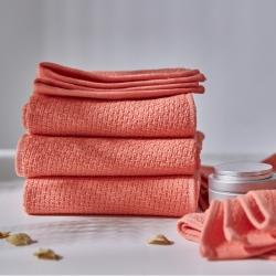 你好生活 纯棉特定工艺纺织毛巾千丝万缕香柚红(100起拿)
