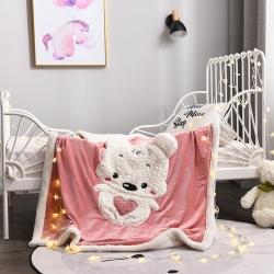 静家居 2018新款绵羊绒刺绣工艺童毯 抱抱宝贝熊-粉