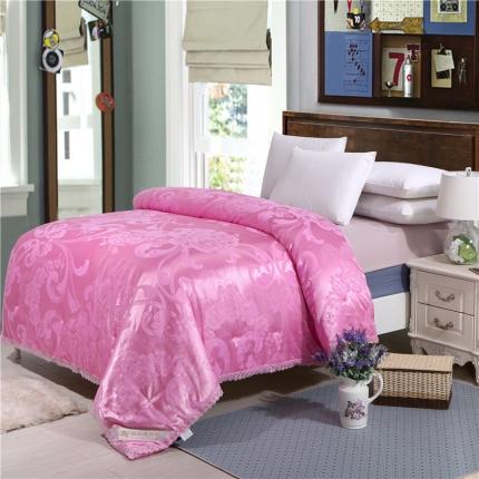兰曼笛家纺 经典贡缎蕾丝提花蚕丝被粉色