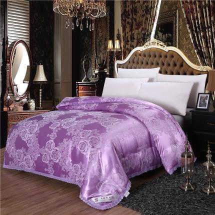 兰曼笛家纺 经典贡缎蕾丝提花蚕丝被紫色