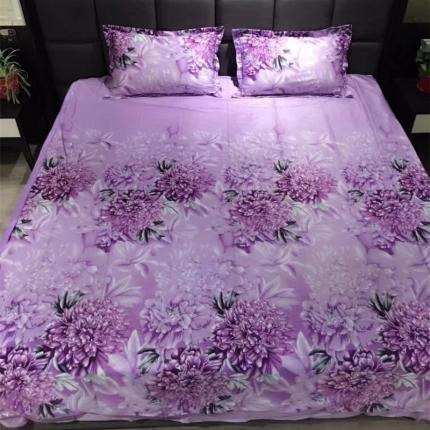 兰曼笛 天鹅绒保暖系列四件套 紫色风情