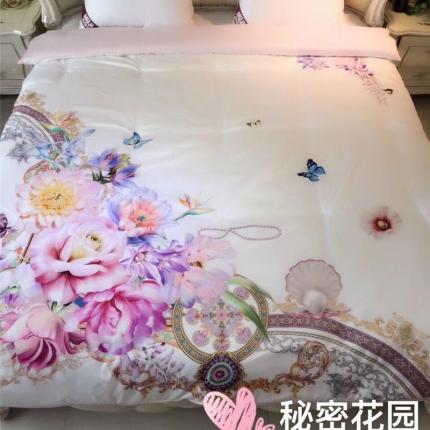 兰曼笛家纺 新品专版高端大版花牛奶润肤冬被 秘密花园