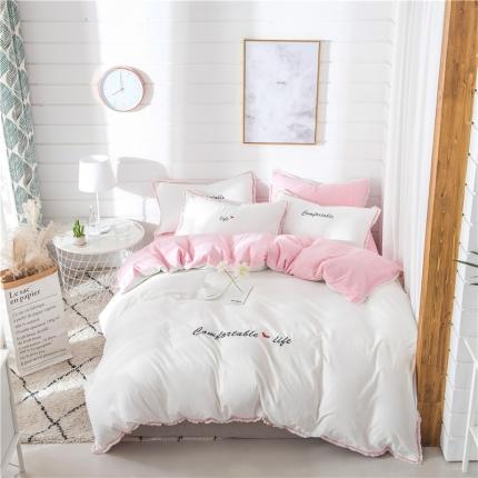 (总)柏然家纺 全棉水洗棉小清新系列四件套床单款送包装