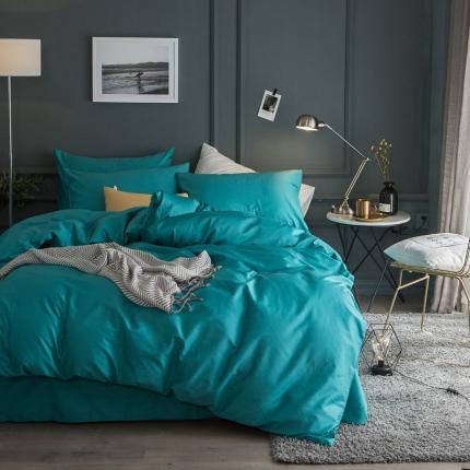 杰米家居 60素色长绒棉英文系列四件套床单款 忆
