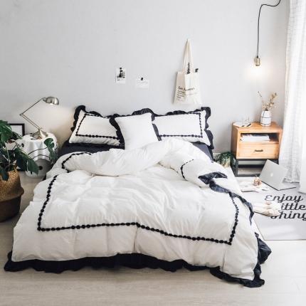 杰米家居 32支色织水洗棉白浅唯美系列床单款 白浅