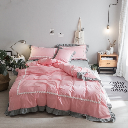 杰米家居 32支色织水洗棉白浅唯美系列床单款 素素
