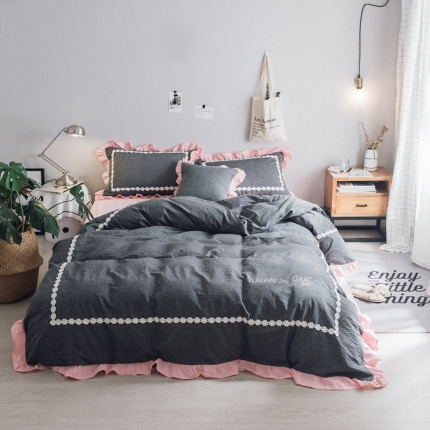杰米家居 32支色织水洗棉白浅唯美系列床单款 颜沫