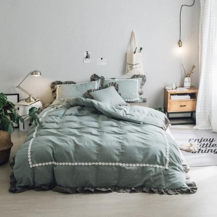 杰米家居 32支色织水洗棉白浅唯美系列床单款 折颜