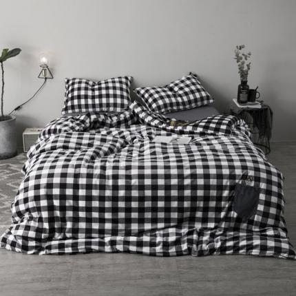杰米家居 宝宝绒水晶绒口袋狗系列四件套床单款 黑白格