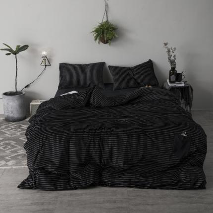 杰米家居 宝宝绒水晶绒口袋狗系列四件套床单款 黑白条