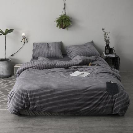 杰米家居 宝宝绒水晶绒口袋狗系列四件套床单款 灰白条