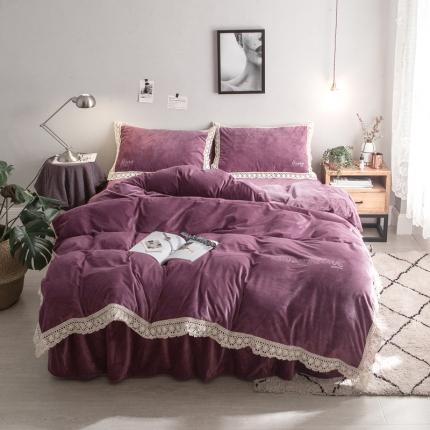 杰米家居 宝宝绒水晶绒潘多拉系列四件套床裙款 神秘紫