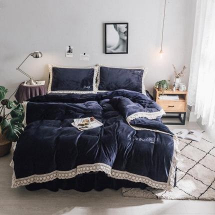 杰米家居 宝宝绒水晶绒潘多拉系列四件套床裙款 星空蓝