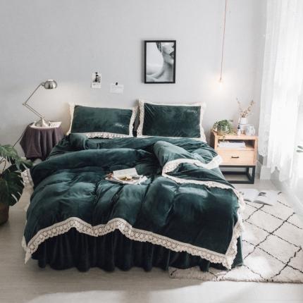 杰米家居 宝宝绒水晶绒潘多拉系列四件套床裙款 祖母绿
