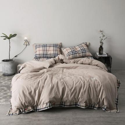 杰米家居 32支全棉色织水洗棉余生系列四件套床单款卡其
