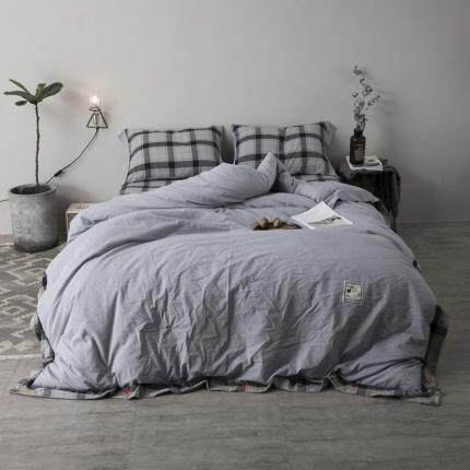 杰米家居 32支全棉色织水洗棉余生系列四件套床单款 蓝灰