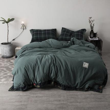 杰米家居 32支全棉色织水洗棉余生系列四件套床单款墨绿