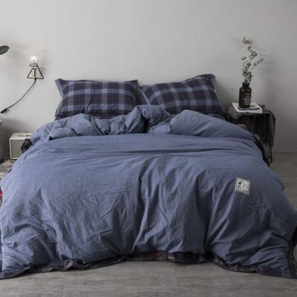 杰米家居 32支全棉色织水洗棉余生系列四件套床单款牛仔蓝