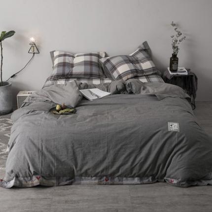 杰米家居 32支全棉色织水洗棉余生系列四件套床单款浅灰