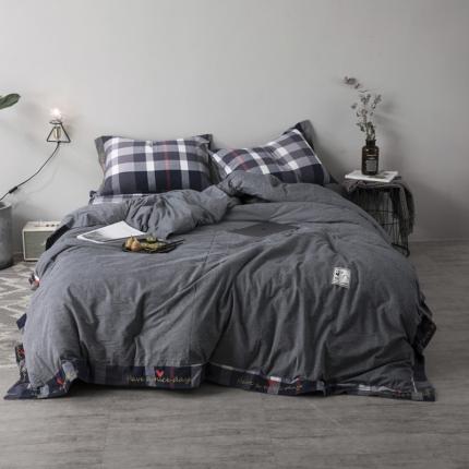 杰米家居 32支全棉色织水洗棉余生系列四件套床单款深灰