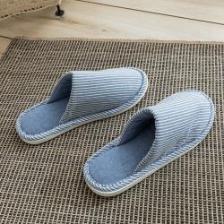 野馬家紡 乳膠拖鞋 無印-條紋淺藍