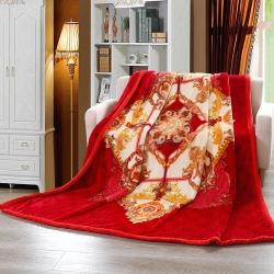 凤凰 2018新款67826拉舍尔毛毯 红徽章