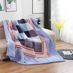 凤凰 2018新款67826拉舍尔毛毯 蓝格