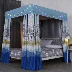 雙鳳居  2019新款高密度三層95%遮光床簾 春意盎然藍
