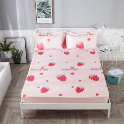 HM 2019新款冰絲涼席床笠款 奶油草莓