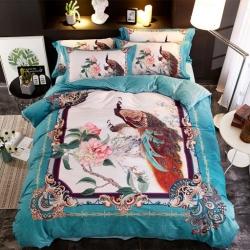 格里芬家纺 数码印花水晶绒法莱绒魔法绒四件套 国色天香