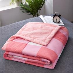 铂优家纺 日式水洗棉夏被空调被可水洗简约条纹 大方格-粉