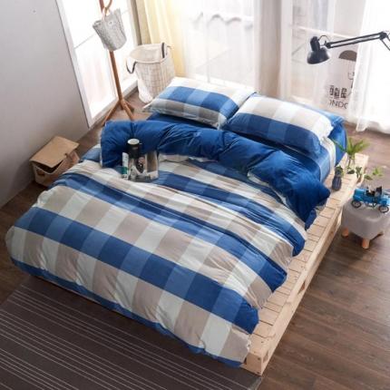 (总)米亚家居 水晶绒静心格四件套床单款