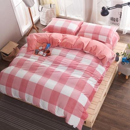米亚家居 水晶绒静心格四件套床单款 粉格