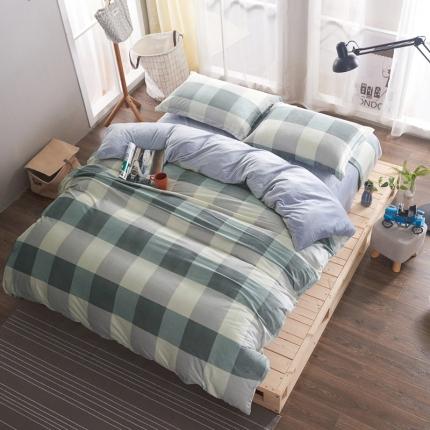 米亚家居 水晶绒静心格四件套床单款 绿格