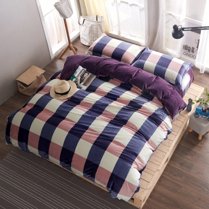 米亚家居 水晶绒静心格四件套床单款 紫格