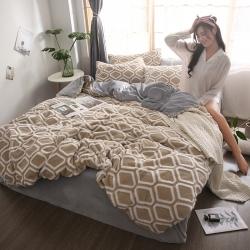 (总)梦精灵 新款水晶绒四件套保暖套件提花舒棉绒四件套床单