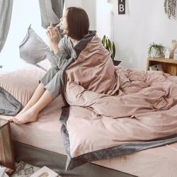 (总)首尔家纺 水晶绒宽边拼角纯色四件套宝宝绒法莱绒
