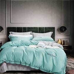 伊恋莎娜新款100支长绒棉刺绣四件套米歇儿系列G245水绿