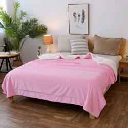 翔瑞家纺 双层法莱绒羊羔绒毛毯冬季加厚复合毯 粉红色