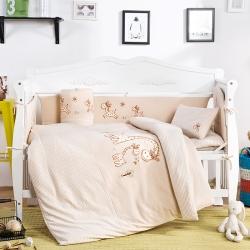 凯芙兰 彩棉儿童被床围多件套 长颈鹿